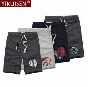 Feather Headdress Patchwork Shorts Men 100% Coon Fashion Boardshorts Short Pants Homme Summer YiRuiSen Brand Clothing
