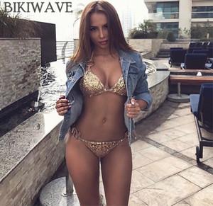 2018 Sexy Bikinis Pailletten Goldene Frauen Bandage Bikini Set Push Up Padded Riemchen Badeanzug Backless Brazillian Sommer Bademode