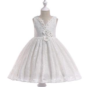 Weiß 2016 Blumenmädchen Kleider für Hochzeiten Ballkleid hohe Kragen Tüll Spitze lange Erstkommunion Kleider für kleine Mädchen