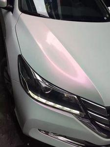1,52 * 18 m brillant caméléon perle blanche voiture enveloppe vinyle blanc à rouge caméléon voiture emballage avec bulle libre
