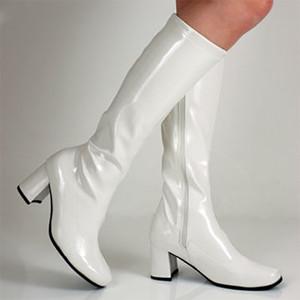 Pelle Glitter verniciata delle donne Go Go stivali al ginocchio alto tacco grosso scarpe invernali breve peluche tacco Med verde lucido pioggia Boot Plus Size