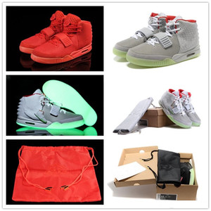 (Con la caja) Zapatos Kanye West 2 II SP Deportes baloncesto con la bolsa para polvo gris para hombre negro oscuro resplandor deportes zapatillas de deporte de tamaño 7-13