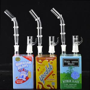 Pequeno Juice Pipes Box Oil Rigs Bong de Vidro Grosso Bongs água fumadores Água Bong Heady Dab taça Bongos Com 14 milímetros Caliane 9,8 ''