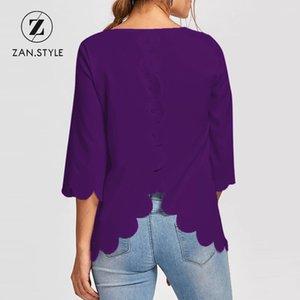 ZAN.STYLE Detalle de botones casuales Blusa borde festoneado Mujer O cuello espalda sólida Corte de flores Camisa de la blusa Tops irregulares de las mujeres
