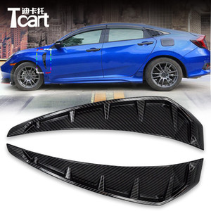 Accesorios del coche para Honda Civic 2016 2017 2018 ABS fibra de carbono Shark Gills Simulación Outlet Side Vent Sticker