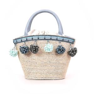 2018 Ladies Summer Beach Tassel hombro Messenger Bag bolso hecho a mano Retro Straw Handbag
