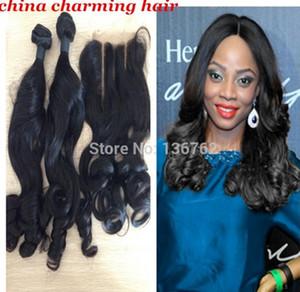 6A virgem peruano romance encaracolado cabelo humano 3 pcs muito 2 pcs funmi curly virgem cabelo feixes com 1 pc 3 parte funmi lace closure