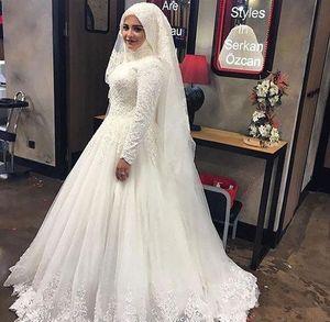 Muslim Lace Long Sleeve Wedding Dresses 2019 New High Neck Floor Length Pleats Applique Bridal Gowns Wedding Dress Custom Made Plus Size
