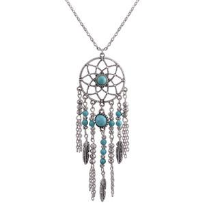Новая мода ювелирные изделия мечта ожерелье этнический стиль бахромой перья бирюзовые ожерелья Богемия ювелирные изделия с дополнительной свободный образец случайным образом