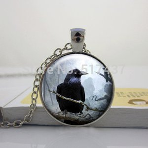 HZ - A306 Cuervo de plata colgante de cristal collar, Spooky Black Bird Crow foto joyería, collar cabujón de cristal HZ1