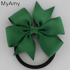 Headwear Myamy 40pcs Lot 3in Pinwheel Hair Bows Cravates Élastiques Headwear 40 couleurs