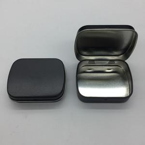 Chegada nova caixa de lata de hortelã preta pequena caixa de presente de jóias caixa de chiclete com dobradiça 100 pçs / lote