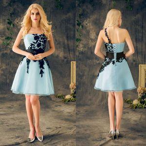 2020 New Real corto del regreso al hogar de los vestidos de luz Cielo Azul Con Negro Apliques de encaje de un hombro barato del partido del vestido rápido libre