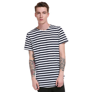 Stripe Casual Tee Shirts Uomo Cotton Round Hem Modello lungo Top Street Summer New Fashion Style Tops manica corta