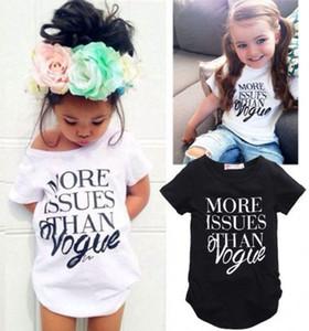 """INS Baby """"больше вопросов, чем vogue"""" Письмо печати футболка 2018 лето тройники девушки топы бутик детская одежда C3957"""