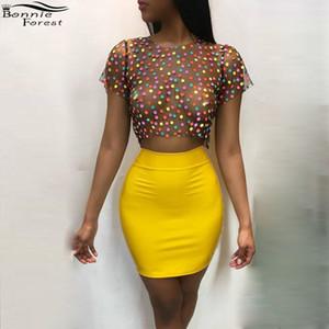 Bonnie Forest - Mini-jupe taille haute jaune sexy - Tops See-Through Dot - Tops Party Party Discothèque deux pièces 2 pièces