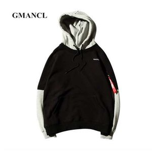 GMANCL Brief gedruckt Männer Hooded Hip Hop Pullover Gefälschte zwei Stücke Streetwear beiläufige hohe Qualität Side Männer Sweatshirt Hoodies