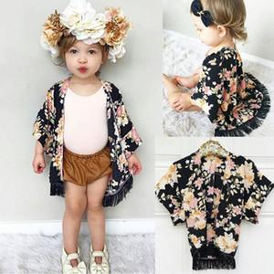 Mädchen Floral Caps Poncho mit Quasten Blume gedruckt halb weit Ärmel Ramie Frühling Herbst Tops Outfit 1-5 t