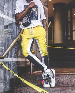Moda Justin Bieber Stripes Splice Men Pants Hip Hop Fashion Fear of God Fog Pocket Side Zipper Jogger Pants envío gratis Men Pants
