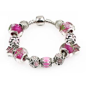 Femmes Coffret Cadeau 925 Charm perles en argent sterling Bloom Pendentif Charms clip rose Fit Bracelets femmes Bijoux bricolage