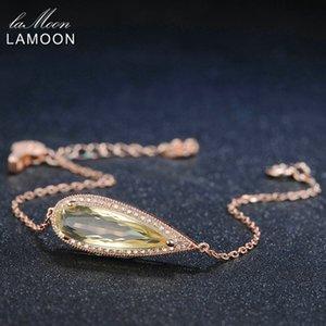 Lamoon Teardrop Luxury 100% Natural Yellow Citrine Bracciale in argento sterling 925 gioielli con catena S925 LMHI010Y1882701