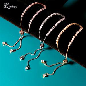 Rinhoo encanto de plata maciza del color del Rhinestone del brazalete de las pulseras de la joyería para las mujeres de la señora novia de la boda del regalo del partido