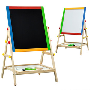 Children Kids 2 In 1 Wooden Drawing Board Artist Easel,Double-sided Easel,Black Chalk Board White Dry Ease Board,Small