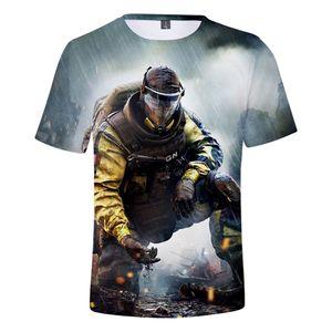 Gökkuşağı Altı Siege 3D T-shirt Erkekler / Kadınlar Casual Stil T-Shirt Gökkuşağı Altı 3D T-Shirt Tüm Mevsim için Uygun