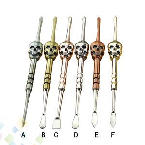 Skull Wax Dabber outil 6 couleurs 120MM changeable Démonté Dab Jar Outils en métal clou en titane pour herbe sèche Vape Atomiseur réservoir DHL gratuit