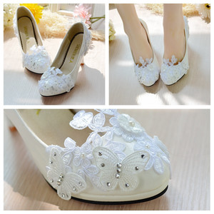 Woman Pumps Butterfly Wedding Shoes Lace Crystal Slip On Heels Ladies Party Pumps Real Shoes Sexy Pointed Toe Bridal Shoes