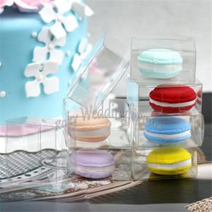 Scatola in Macaron in PVC trasparente in plastica da 200PCS 5cm con pellicola protettiva per 1 Macarons Bomboniere in bomboniere con scatole trasparenti in PVC
