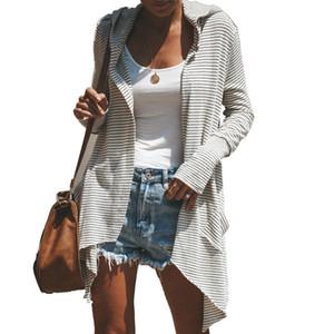 Fashion Women's Slim Long Causal Striped Long Sleeve Coat Cotton Blend Jacket Windbreaker Parka Outwear Cardigan Autumn Clothes