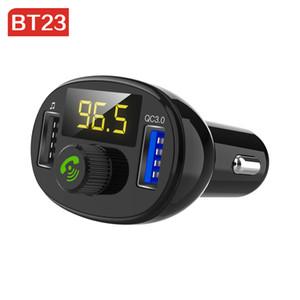 BT23 QC 3.0 Bluetooth Car Kit Rápida Dual USB Carregador de Carro Transmissor FM modulador de Música de Áudio Mp3 Player Handsfree Car kit