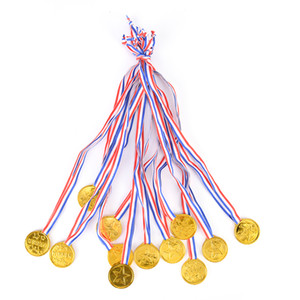 12pcs Children Gold Plastic Winners Medals Sports Day Party Bag Prize Awards Toys For party decor