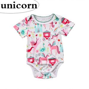 Ins New KIDS Unicorn full print Combi-short col rond infantile bébé Combi-short manches courtes fleur nouveau né Barboteuses 0-2ans