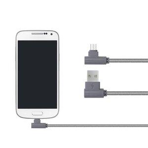 1M / 3.28ft 90 degrés Angle droit MIRCO / TYPE C Câble USB Nylon BIRAIDED L Forme USB Données USB Synchronisation Chargeur Cordon de chargeur