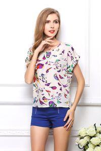 Weiblicher Sommer preiswerte Chiffon- Blusen Größe kurze Hülse gedrucktes T-Shirt für Frauen Batwing Los Tees Shirts