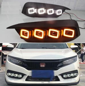2PCS LED Daytime Running Light For Honda Civic 2016 2017 2018 Flowing Turn Yellow Signal Relay Car DRL 12V LED Fog Lamp