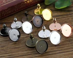 Material de cobre latão chapeado brinco Studs (com plugue de orelha) Base de brincos, Cabochão de vidro 12 mm Fit 12 mm 50pcs / Lot