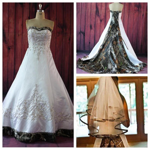 Sweetheart Camo A-Line Camouflage Wedding Dresses With Embroidery Beaded Bridal Gowns Lace Up Back Custom Vestidos De Soiree Plus Size 2018
