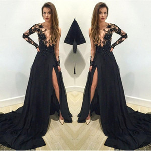 Black Floral Lace Applique Long Sleeves Split Evening Dresses 2019 Arabic Sheer Plunging Neckline A Line Prom Party Gowns Vestidos BA1611