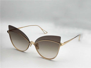 Womens Nightbird-One With Cateye Sunglasses Gold Brown 66mm Glasses Eye Box Rimless Sonnenbrille New Cat Sunglasses Hednb