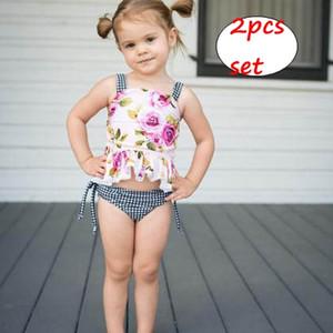 Newborn Girls 2pc set INS neonato Estate stampa floreale pizzo top nero bianco griglia pantaloncini 3-18 M