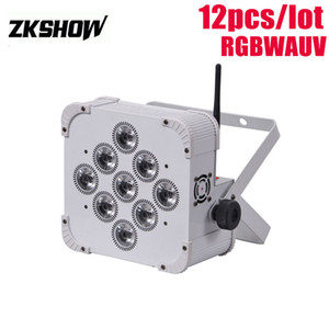 80% de descuento 9 * 18W RGBAWUV Batería inalámbrica Flat LED Par Light 180W DMX DJ Disco Party Wedding Show Stage Projector 230V 110V Envío gratis