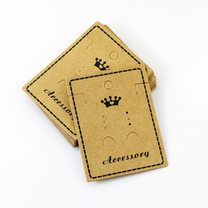 5.57 * 7.8 cm Kraft Paper Stud Earrings Necklace Tag Joyería Display Card Ear Stud Hooks Cartón Etiquetas de precio 100 unids / lote