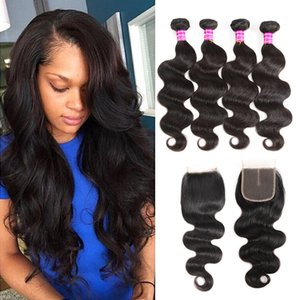 Cheap Malaysian Virgin Hair Body Wave Bundles With 4x4 Lace Closure Accessories Brazilian Human Hair Extensions Weave Bundles Free Shipping