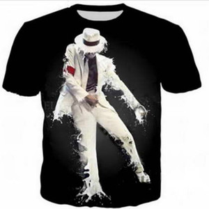 Michael Jackson 3D Komik Tişörtleri Yeni Moda Erkekler / Kadınlar 3D Baskı Karakter T-Shirt T gömlek Kadınsı Seksi Tshirt Tee Üstleri Giysileri ya156