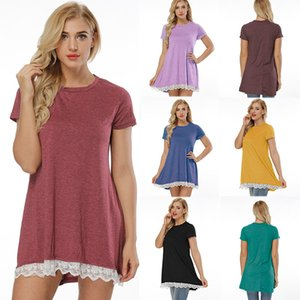 새로운 도착한 여성 캐주얼 티셔츠 블라우스 플러스 사이즈 2XL XL L 패션 레이스 패널 느슨한 여성용 반팔 T 셔츠 드레스