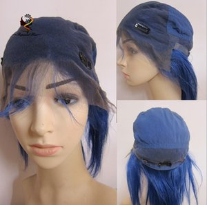 Shopping online short brazilian hair glueless full lace wig blue color hot sale human hair wig