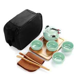 Handmade Chinese   Japanese Vintage Kungfu Gongfu Tea Set - Porcelain Teapot & 4 Teacups & Bamboo Tea Tray with a Portable Travel Bag